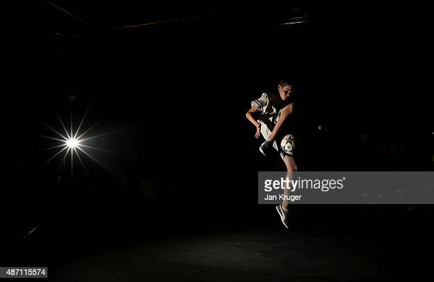 Participants take part in the freestyle competition during the Soccerex Manchester football festival at Granada Studios on September 6 2015 in...