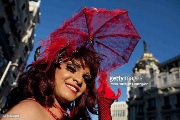 Participants take part in the Gay and Lesbian Pride Parade on June 30 2012 in Madrid Spain Thousands of gays lesbians and people supporting them in...