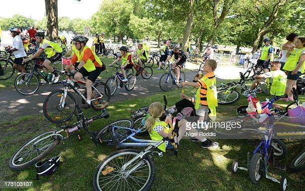 Participants take part in the Sky Ride Leeds today a free fun family cycling event from British Cycling and Sky held in partnership with Leeds City...