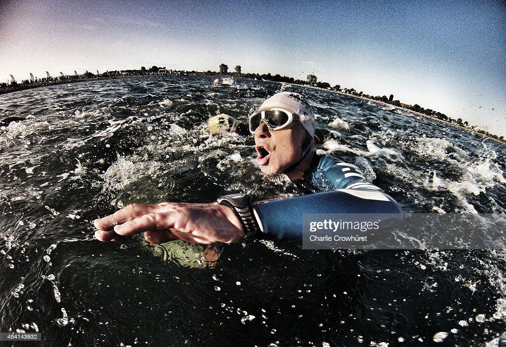 Participants take part in the swim leg during Ironman Copenhagen on August 24, 2014 in Copenhagen, Denmark.