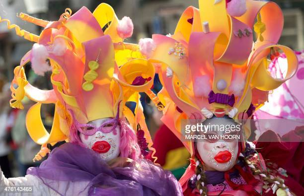 Participants take part in the traditional Carnival parade in the centre of Maastricht on March 2 2014 AFP PHOTO/ANP MARCEL VAN HOORN netherlands out
