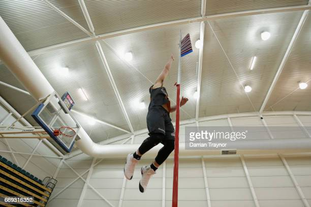Participants take part in the vertical leap test during the NBL Combine 2017/18 at Melbourne Sports and Aquatic Centre on April 17 2017 in Melbourne...