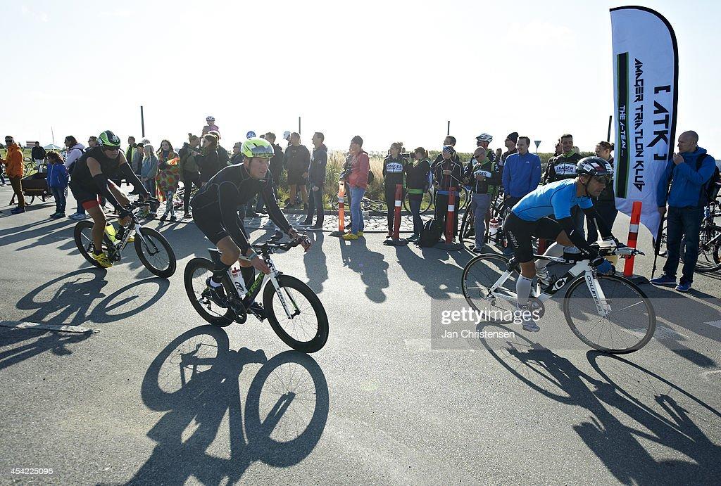 Participants under cycling leg during KMD Ironman Copenhagen on August 24, 2014 in Copenhagen, Denmark.