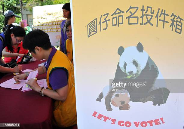 Participants vote for their favourite names for the new panda cub as Taipei City Zoo held a 'babyshower' party to celebrate the onemonth birthday of...