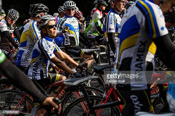 Participants wait for the start to ride a bike part at the 8th Garmin Velothon on May 31 2015 in Berlin Germany Ten thousand bike enthusiasts drove...