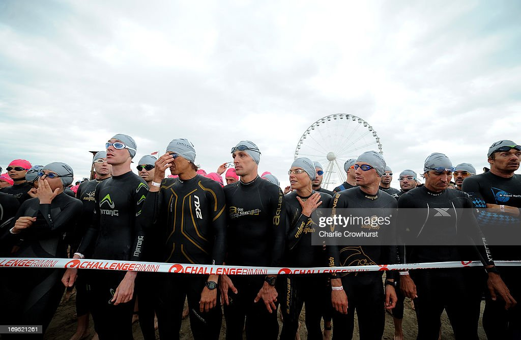 Participants wait to begin the race during the Challenge Family Triathlon Rimini on May 26, 2013 in Rimini, Italy.