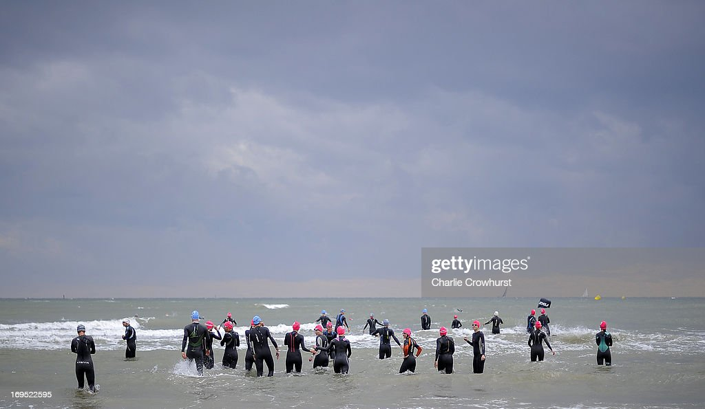 Participants warm up in the sea during the Challenge Family Triathlon Rimini on May 26, 2013 in Rimini, Italy.