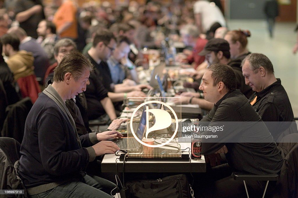 Participants with laptops at the Pirate Party National Convention at RuhrCongress on November 24, 2012 in Bochum, Germany. German Pirates have a lot to achieve as the party is flagging in the polls and facing national elections in less than a year.