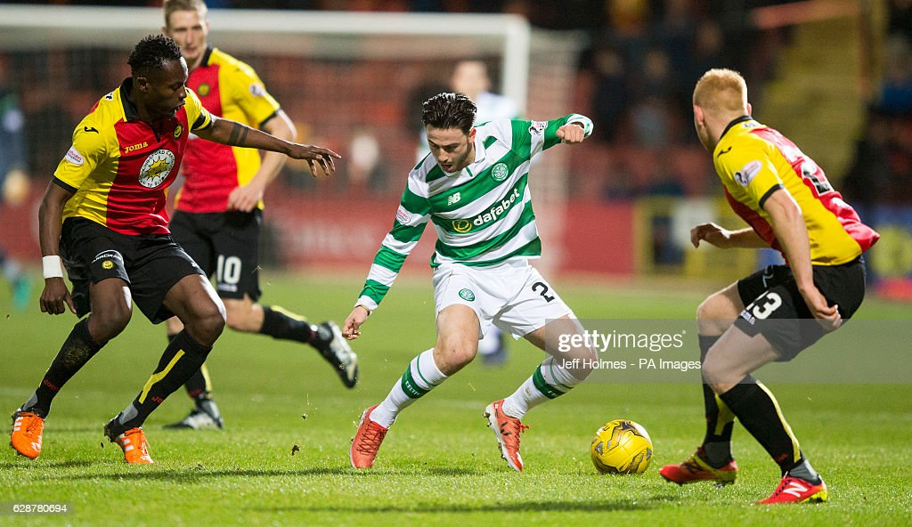 Partick Thistle's Abdul Osman (left) and Ziggy Gordon battle with Celtic's Patrick Roberts during the Ladbrokes Scottish Premiership match at Firhill Stadium, Glasgow.
