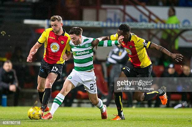 Partick Thistle's Christie Elliot and Abdul Osman battle with Celtic's Patrick Roberts during the Ladbrokes Scottish Premiership match at Firhill...