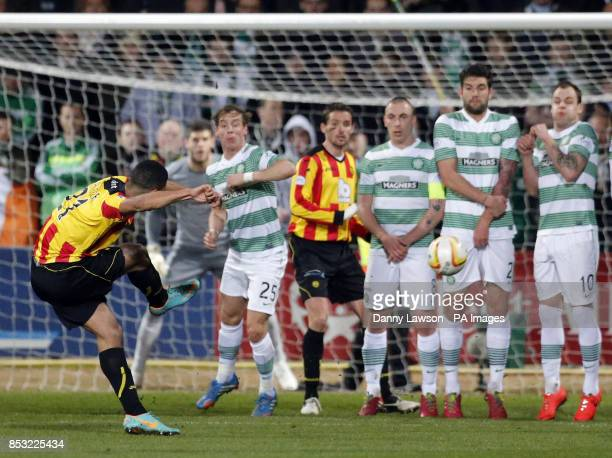 Partick's Thistle's Lyle Taylor takes a free kick during the Scottish Premier League match at Firhill Stadium Glasgow