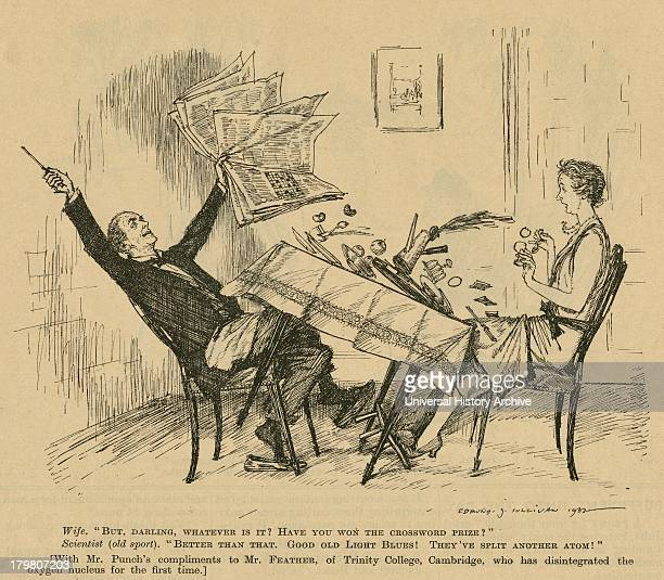 Cartoon from ''Punch'' London celebrating the work of Norman Feather English physcist of Trinity College Cambridge England
