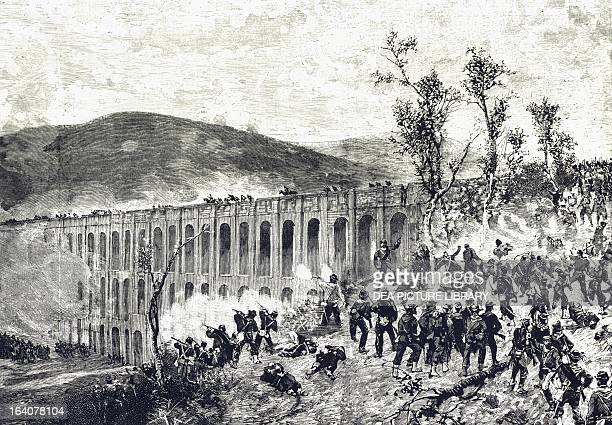 Partisan attack on the bridges in Valle during the battle of Volturno October 12 drawing by Eduoardo Matania Expedition of the Thousand Italy 19th...