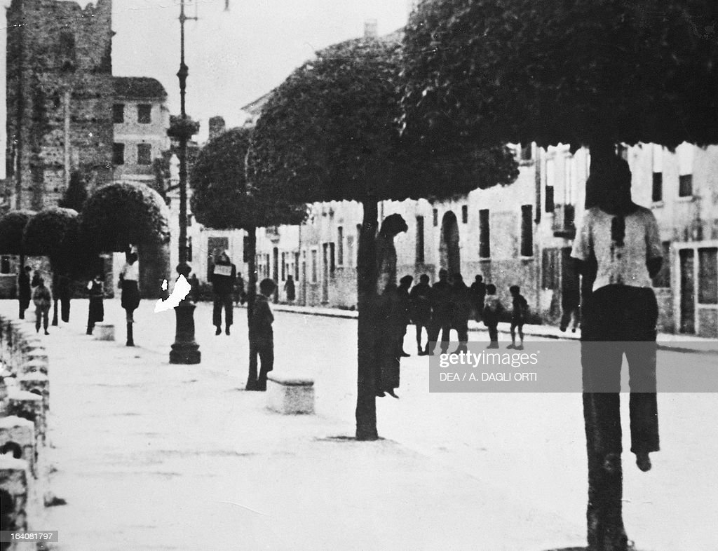 Partisans hanged by the fascists in viale dei Martiri in Bassano del Grappa after a raid in the mountains September 20 1944 World War II Resistance...