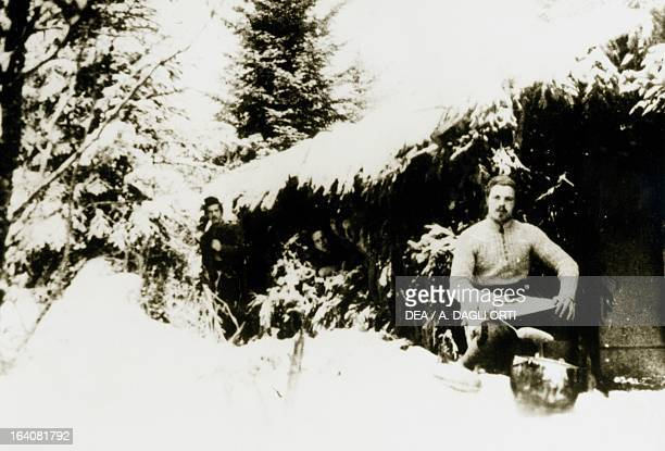 Partisans on the Plateau of the Seven Communities preparing mess rations World War II Resistance Italy 20th century Vicenza Museo Del Risorgimento E...