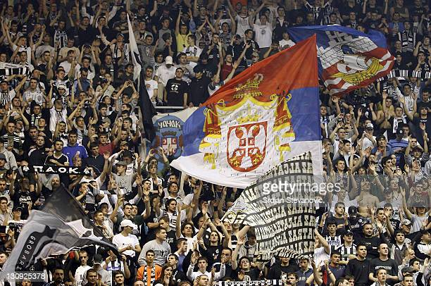 Partizan Belgrade fans give their support during the TOP 16 group E Euroleague match in Belgrade Serbia on March 22 2007