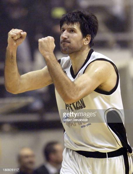 Partizan Belgrade player Predrag Drobnjak celebrates after he scores during their group B Euroleague basketball match in Belgrade Serbia on February...