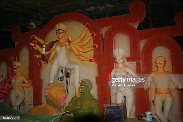 Partly Painted Durga Idols