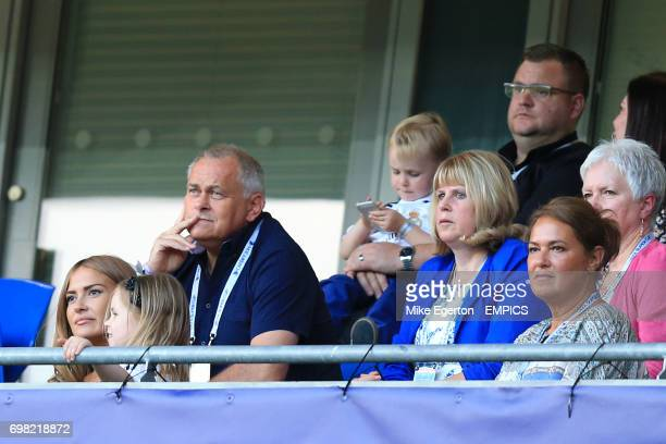 Partner and daughter Father and Mother of Real Madrid's Gareth Bale Emma RhysJones with Alba Frank and Debbie in the stands