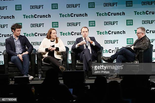 Partner at Balderton Capital James Wise French Secretary of State Axelle Lemaire and Politician Matthew Hancock attend a QA during day 1 of...