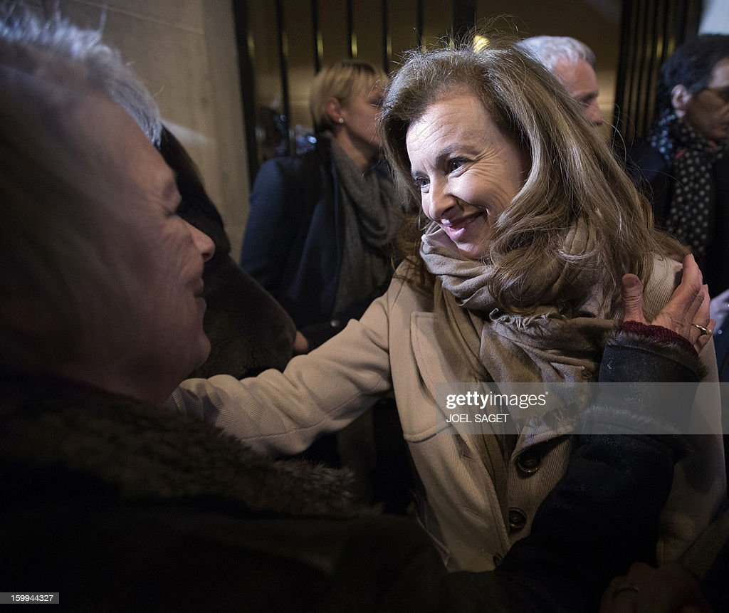 Partner of French President Francois Hollande Valerie Trierweiler congratulates Charlotte Cassez the mother of French national Florence Cassez who...