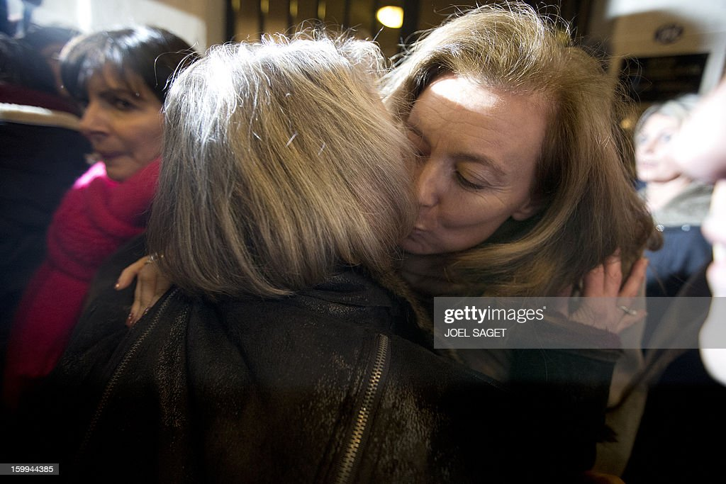 Partner of French President Francois Hollande Valery Trierweiler congratulates Charlotte Cassez the mother of French national Florence Cassez who was...