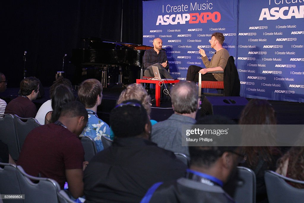 Partner, president, Heavy Duty Music Publishing Josh Kessler (L) and producer, songwriter Ariel Rechtshaid speak onstage at the 2016 ASCAP 'I Create Music' EXPO on April 28, 2016 in Los Angeles, California.