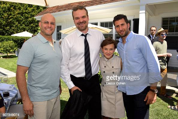 ICM Partners' Chris Silbermann actor David Harbour actress Millie Bobby Brown and ICM Partners' Adam Schweitzer at the ICM Partners PreEmmy Brunch on...
