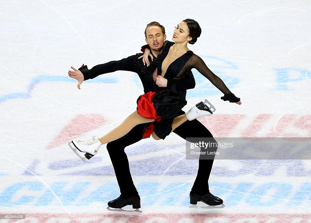 Partners Madison Chock and Evan Bates compete in the Championship Short Dance Pogram Competition during day 2 of the 2015 Prudential US Figure...