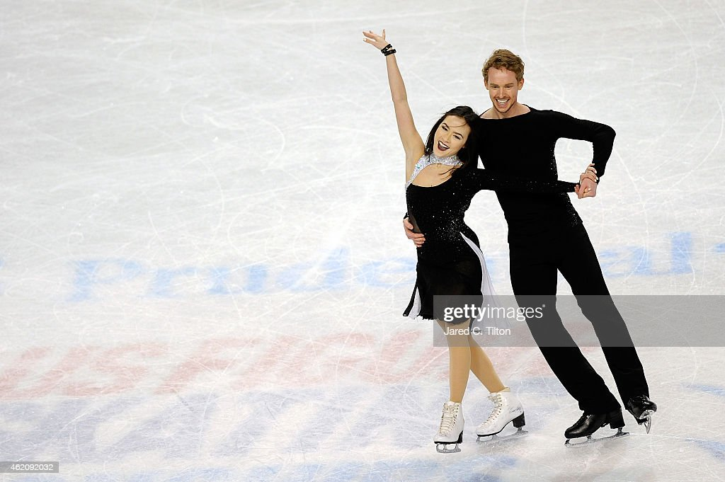 Partners Madison Chock and Evan Bates compete in the Championship Free Dance Program Competition during day 3 of the 2015 Prudential US Figure...