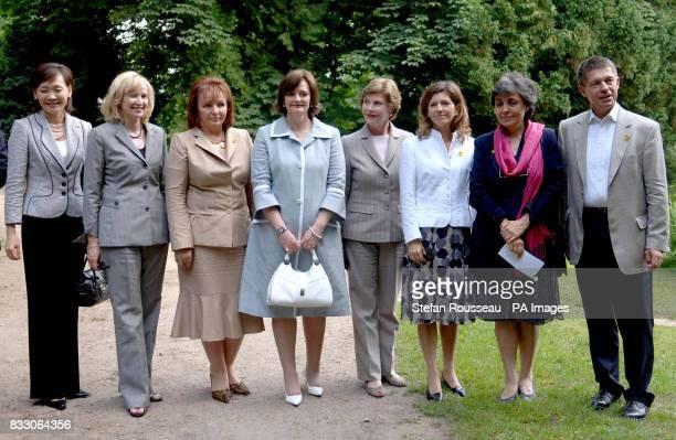 Partners of G8 leaders Alie Abe Laureen Harper Ludmila Putina Cherie Blair Laura Bush Margarida Uva Flavia Prodi and Joachim Sauer visit Schlosshotel...