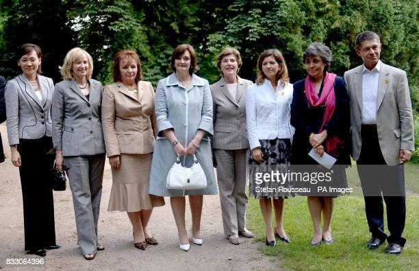 Partners of G8 leaders Ludmila Putina Laureen Harper Cherie Blair Flavia Prodi Margarida Uva and Alie Abe visit Schlosshotel Burg Schlitz an old...