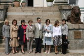 Partners of the Group of Eight Industrialised Nation leaders Laureen Harper of Canada Lyudmila Putina of Russia Flavia Franzoni Prodi of Italy First...