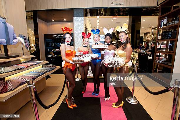 Partners with Bloomingdale's for Fashion Night Out Pictured Playboy Bunnies serving NBC themed cupcakes at Bloomingdale's New York Men's department