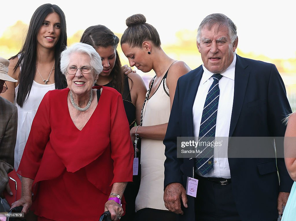 Part-owner Sir Colin Meads (R) and his wife Lady Verna celebrate after Ruud Awakening won the Karaka Million in race four during the Karaka Million at Ellerslie Racecourse on January 27, 2013 in Auckland, New Zealand.
