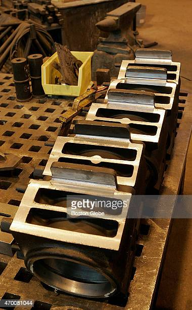 Parts lined up on a bench at the blacksmith shop for the MBTA that makes and repairs items no longer manufactured but still in use on North America's...
