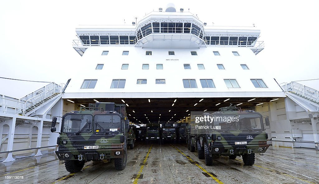 Parts of a Patriot anti-missile system are being loaded onto a ship for transport to Turkey on January 8, 2013 in Travemunde, Germany. Germany is deploying two Patriot batteries and 400 troops as part of a NATO operation that also involves Dutch and U.S. Patriot units to defend Turkey from possible Syrian attack.