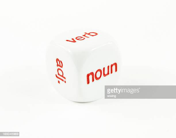 Parts of Speech- noun, verb adj. on a cube