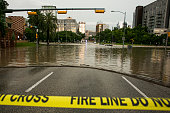 Parts of the city are shown inundated after days of heavy rain on May 25 2015 in Austin Texas Texas Gov Greg Abbott toured the damage zone where one...