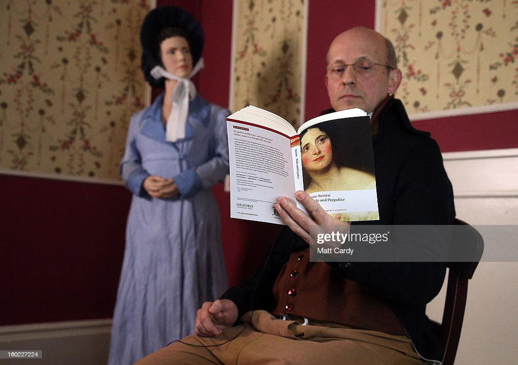 Part-time actor Ashley Green reads chapter ten of Jane Austen's Pride and Prejudice at the Jane Austen Centre on January 28, 2013 in Bath, England. To celebrate the 200th anniversary of the publication, book experts, writers and fans are reading the entire novel in a 12-hour internet broadcast streamed live from the centre which is based in the city where the writer lived from 1801 to 1806.