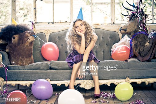 Party Animals and Beautiful Young Woman : Stock Photo