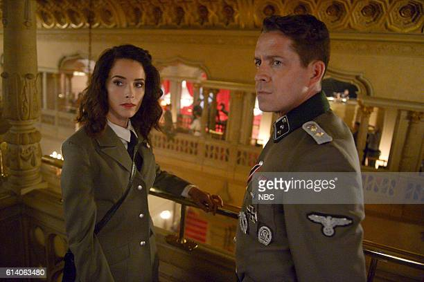 TIMELESS 'Party At Castle Varlar' Episode 103 Pictured Abigail Spencer as Lucy Preston Sean Maguire as Ian Fleming