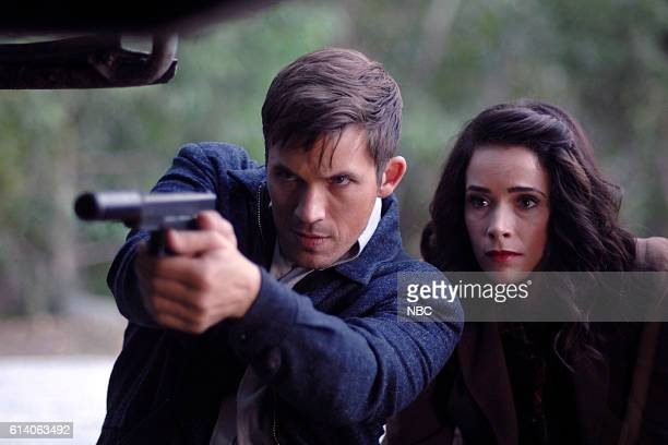 TIMELESS 'Party At Castle Varlar' Episode 103 Pictured Matt Lanter as Wyatt Logan Abigail Spencer as Lucy Preston