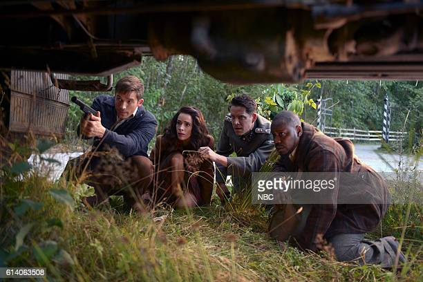 TIMELESS 'Party At Castle Varlar' Episode 103 Pictured Matt Lanter as Wyatt Logan Abigail Spencer as Lucy Preston Sean Maguire as Ian Fleming Malcolm...