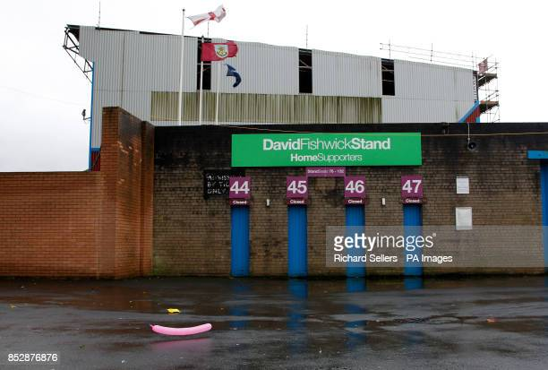A party balloon blows around in wintery weather conditions outside Turf Moor before the Sky Bet Championship match at Turf Moor Burnley