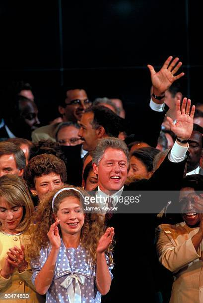 Party cand for pres AR Gov Bill Hillary Rodham Clinton w daughter Chelsea host of notables during Dem Natl Convention festivities