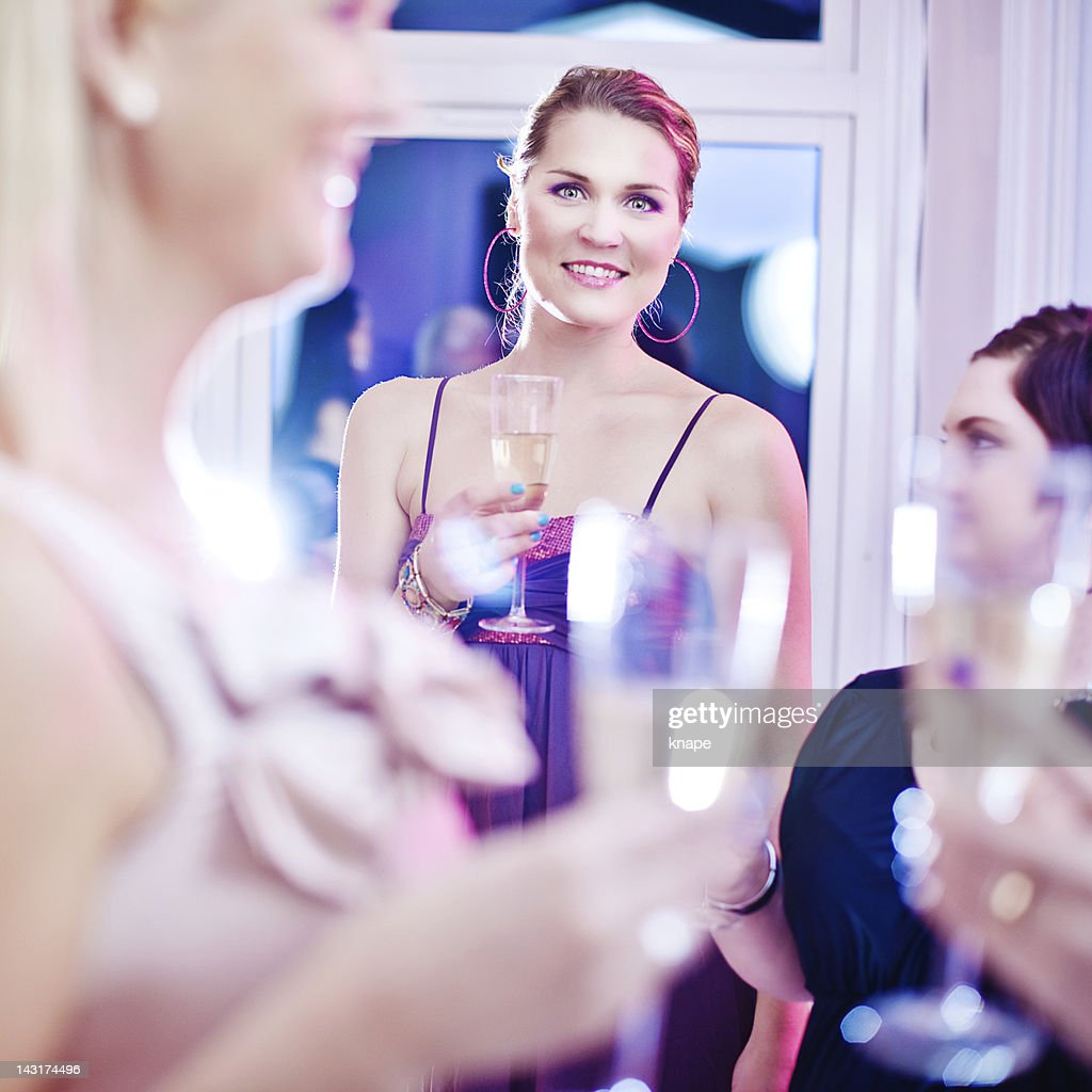 Party celebrating with champagne : Stock Photo