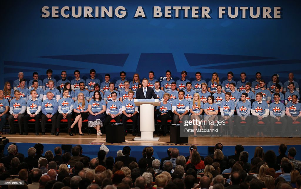 Party chairman Grant Shapps addresses delegates at the Conservative party conference on September 28 2014 in Birmingham England The governing...