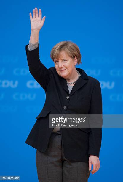 CDU party conference in Karlsruhe Federal Chancellor Angela Merkel waving after her speech
