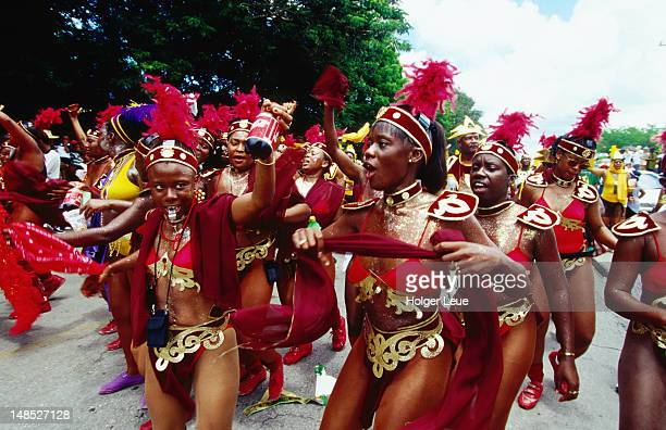 Party Dancers during Kadooment Day Parade at Crop-Over Festival.